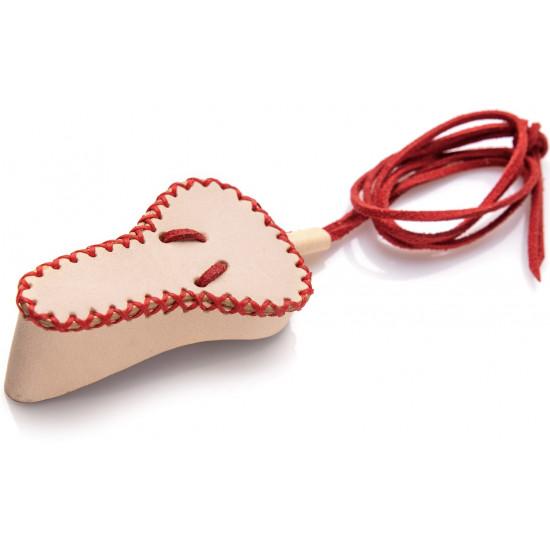 Чехол кожаный, кремовый скрасной нитью для маленького варгана без инструмента